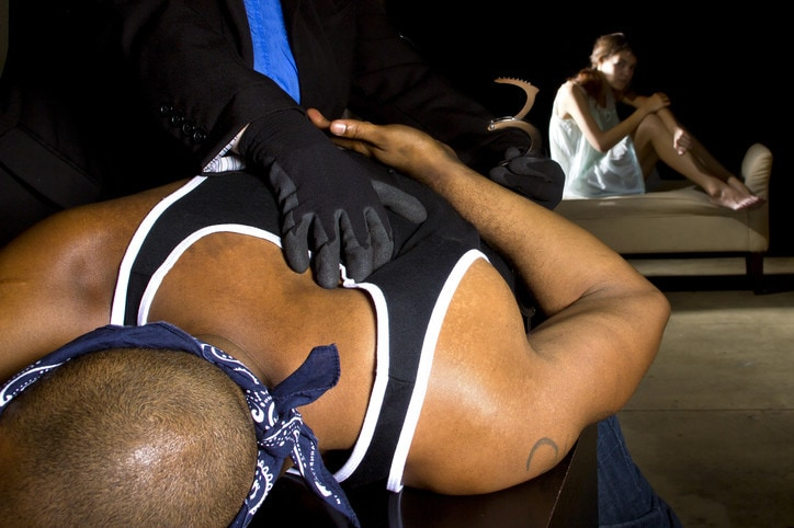 Rapist Being Arrested with Handcuffs