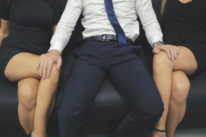 Business man touching a women thighs second degree criminal sexual conduct