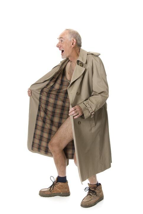 Crazy old man flashing